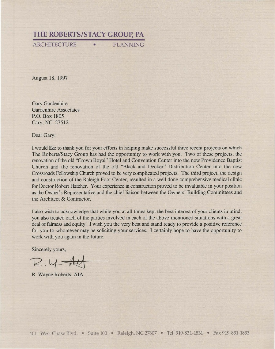 Gardenhire Associates  Blog Archive  Roberts Reference Letter